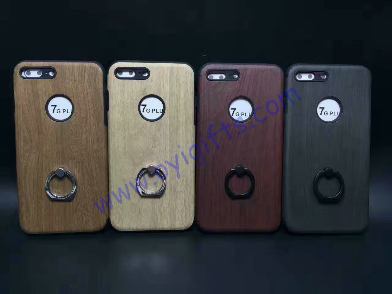 Fashion wood grain ring holder Phone cases covers