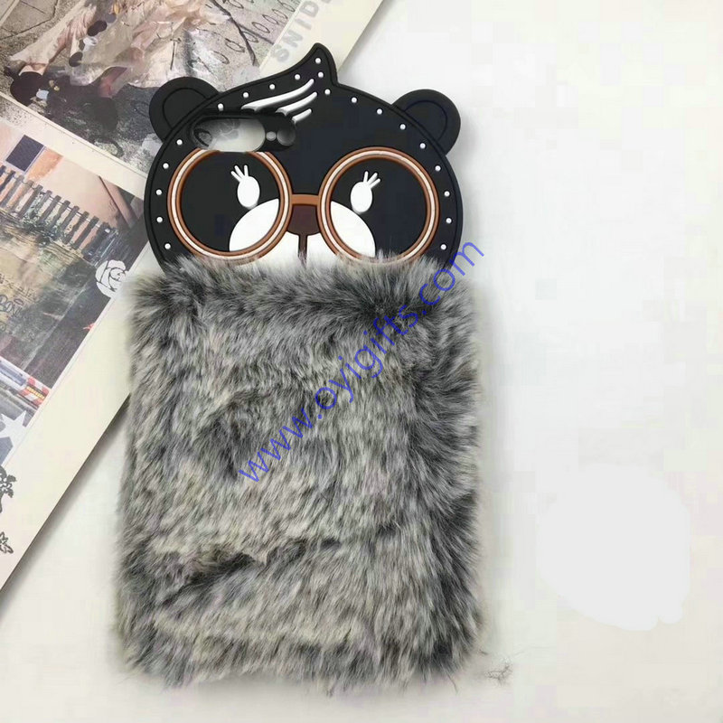 Lovely 3D bear doll fluffy warm phone cases covers